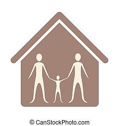 maison, intérieur, famille, ensemble