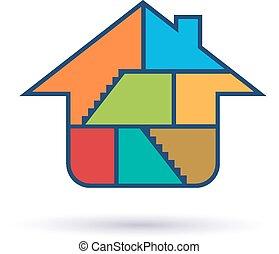 maison, intérieur, salles, logo