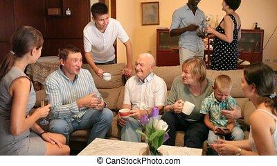 maison, invités, grandiose, famille, amical, portrait
