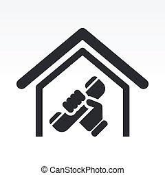 maison, isolé, illustration, téléphone, unique, vecteur, icône