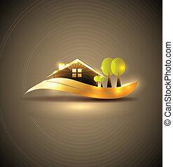 maison, jardin, symbole