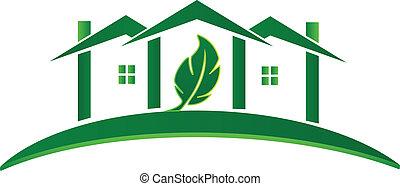 maison, logo, écologie, vert, concept