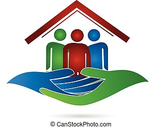 maison, logo, protection, famille, mains