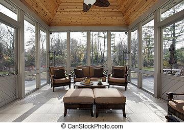maison, luxe, porche