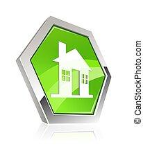 maison, métallique, icône