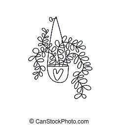 maison, main, potted, dessiné, plante, pendre, outline., noir