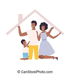 maison, maison, africaine, heureux, cadre, leur, intérieur, parents, illustration, famille, vecteur, américain, fils