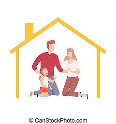 maison, maison, heureux, cadre, leur, intérieur, parents, illustration, famille, vecteur, fils