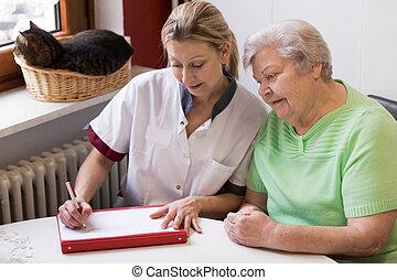 maison, malade infirmière, visiter