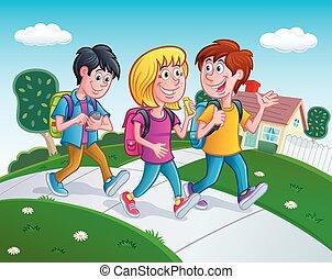 maison, marche, gosses, école