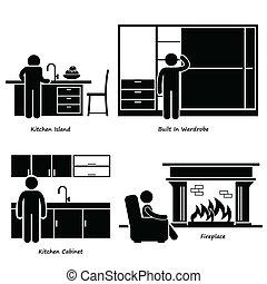 maison, meubles, built-in, icônes