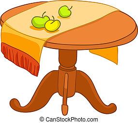 maison, meubles, dessin animé, table