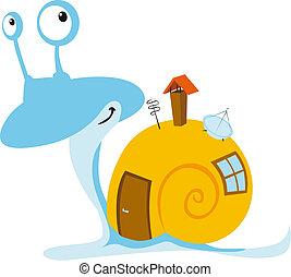 maison, mobil, escargot