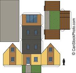 maison, modèle, papier