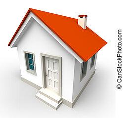 maison, modèle, rouges, toit