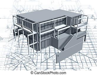 maison, modèle, vecteur, architecture, blueprint.