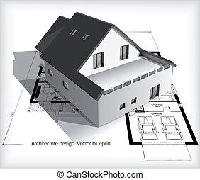 maison, modèles, modèle, sommet, architecture