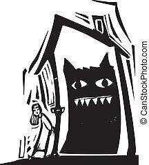 maison, monstre