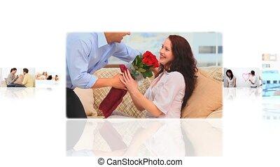 maison, montage, couples, mignon, temps, dépenser, ensemble
