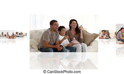 maison, montage, enfants, avoir, leur, parents, amusement
