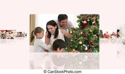 maison, montage, moments, apprécier, familles, noël, partage, quelques-uns, ensemble
