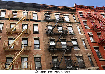maison, nouveau, escalier, en ville, mur, brûler, york