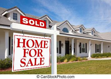 maison, nouveau, vendu, signe vente