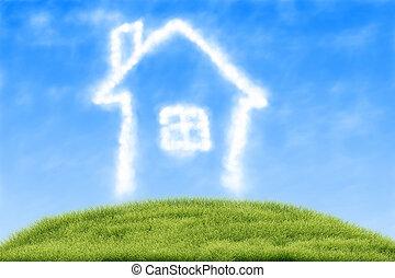 maison, nuages