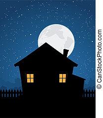 maison, nuit, silhouette, étoilé
