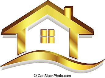 maison, or, logo, vecteur, 3d