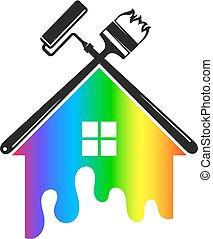 maison, outillage, peinture, symbole