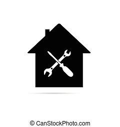 maison, outillage, vecteur, noir