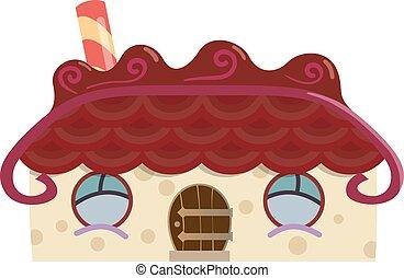 maison, pain épice, conte fées, isolé, vecteur, illustration