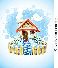 maison, paysage, hiver, noël, neige