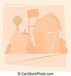 maison, paysage, silhouette, ferme, cultures, campagne