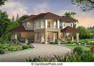 maison, perspective, 3d