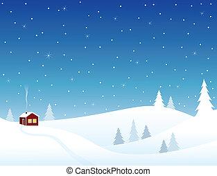 maison, peu, collines, neigeux
