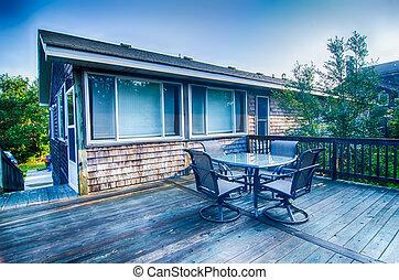 maison, plage, levers de soleil, porche