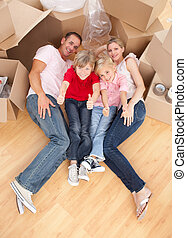 maison, plancher, leur, nouveau, mensonge, famille, heureux