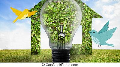 maison plante, en mouvement, bleu, ampoule, ciel, oiseaux, animation, sur, numérique, contre