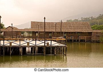 maison, pont bois