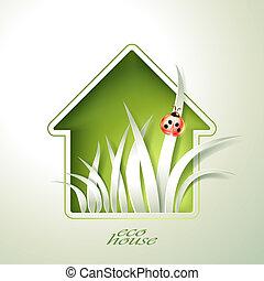 maison, printemps, templ, vert, invitation