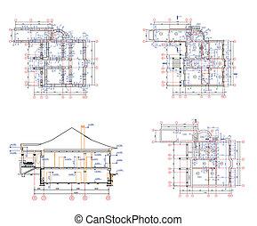 maison, projet architecture, ensemble, background: