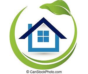 maison, propriété, logo, leaf-, vrai