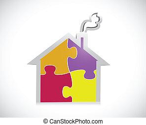 maison, puzzle, conception, illustration