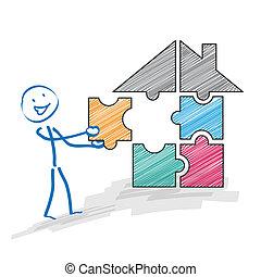 maison, puzzle, stickman