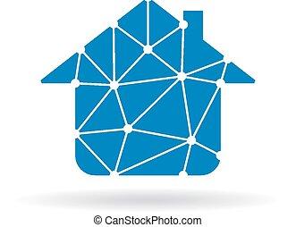 maison, réseau, logo