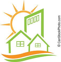 maison, résidentiel, vert, soleil