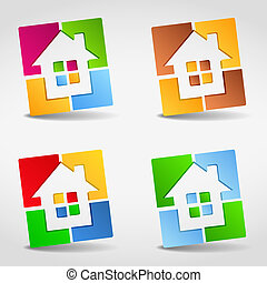 maison, résumé, icônes