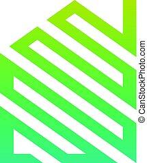 maison, résumé, vert, logo